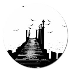 The Pier The Seagulls Sea Graphics Magnet 5  (round)