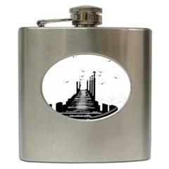 The Pier The Seagulls Sea Graphics Hip Flask (6 Oz)