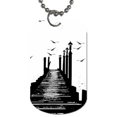 The Pier The Seagulls Sea Graphics Dog Tag (two Sides)