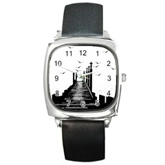 The Pier The Seagulls Sea Graphics Square Metal Watch