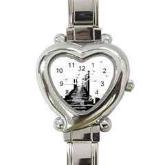 The Pier The Seagulls Sea Graphics Heart Italian Charm Watch