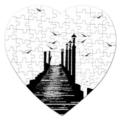 The Pier The Seagulls Sea Graphics Jigsaw Puzzle (Heart)