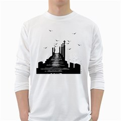 The Pier The Seagulls Sea Graphics White Long Sleeve T Shirts