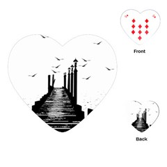 The Pier The Seagulls Sea Graphics Playing Cards (heart)