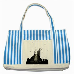 The Pier The Seagulls Sea Graphics Striped Blue Tote Bag
