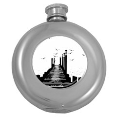 The Pier The Seagulls Sea Graphics Round Hip Flask (5 Oz)