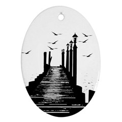 The Pier The Seagulls Sea Graphics Oval Ornament (two Sides)
