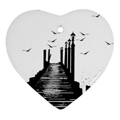 The Pier The Seagulls Sea Graphics Heart Ornament (two Sides)