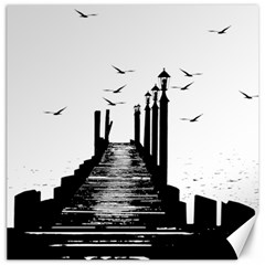 The Pier The Seagulls Sea Graphics Canvas 12  X 12