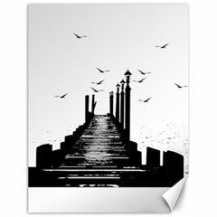 The Pier The Seagulls Sea Graphics Canvas 18  X 24