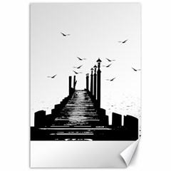 The Pier The Seagulls Sea Graphics Canvas 24  X 36