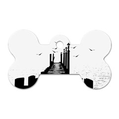 The Pier The Seagulls Sea Graphics Dog Tag Bone (one Side)
