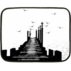 The Pier The Seagulls Sea Graphics Fleece Blanket (mini)