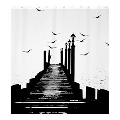 The Pier The Seagulls Sea Graphics Shower Curtain 66  X 72  (large)