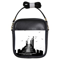 The Pier The Seagulls Sea Graphics Girls Sling Bags