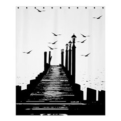 The Pier The Seagulls Sea Graphics Shower Curtain 60  X 72  (medium)