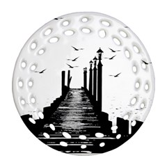 The Pier The Seagulls Sea Graphics Ornament (round Filigree)
