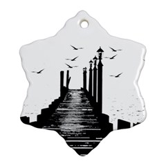 The Pier The Seagulls Sea Graphics Snowflake Ornament (two Sides)