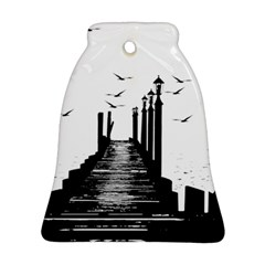 The Pier The Seagulls Sea Graphics Bell Ornament (two Sides)