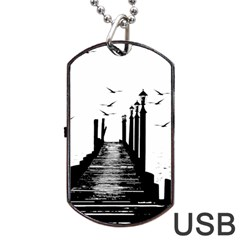 The Pier The Seagulls Sea Graphics Dog Tag Usb Flash (two Sides)