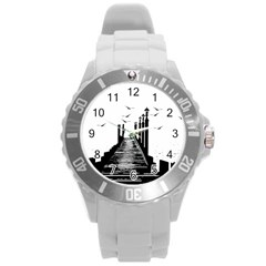 The Pier The Seagulls Sea Graphics Round Plastic Sport Watch (l)