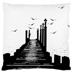 The Pier The Seagulls Sea Graphics Large Cushion Case (one Side)