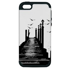 The Pier The Seagulls Sea Graphics Apple Iphone 5 Hardshell Case (pc+silicone)