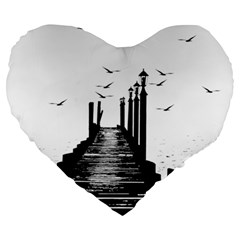 The Pier The Seagulls Sea Graphics Large 19  Premium Heart Shape Cushions
