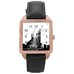 The Pier The Seagulls Sea Graphics Rose Gold Leather Watch