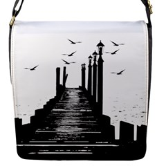The Pier The Seagulls Sea Graphics Flap Messenger Bag (s)