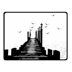 The Pier The Seagulls Sea Graphics Double Sided Fleece Blanket (small)