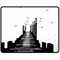 The Pier The Seagulls Sea Graphics Double Sided Fleece Blanket (medium)