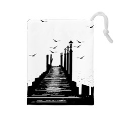 The Pier The Seagulls Sea Graphics Drawstring Pouches (large)