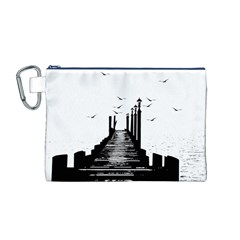 The Pier The Seagulls Sea Graphics Canvas Cosmetic Bag (m)