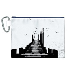 The Pier The Seagulls Sea Graphics Canvas Cosmetic Bag (xl)