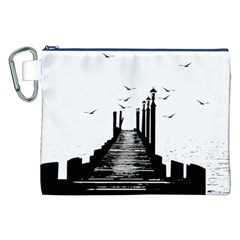 The Pier The Seagulls Sea Graphics Canvas Cosmetic Bag (xxl)