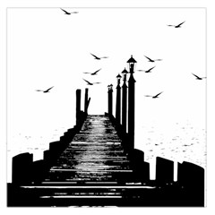 The Pier The Seagulls Sea Graphics Large Satin Scarf (square)