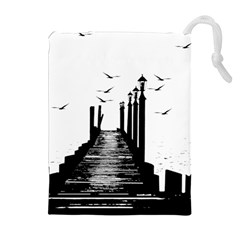 The Pier The Seagulls Sea Graphics Drawstring Pouches (extra Large)