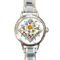 Vector Icon Symbol Sign Design Round Italian Charm Watch