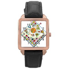 Vector Icon Symbol Sign Design Rose Gold Leather Watch