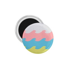 Wave Waves Pink Yellow Blue 1 75  Magnets