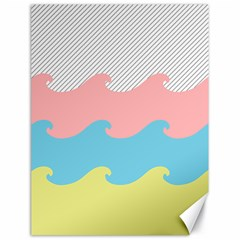 Wave Waves Pink Yellow Blue Canvas 18  X 24