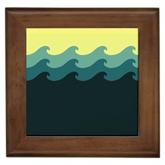 Chevron Wave Water Sea Blue Yellow Framed Tiles