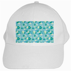 Blue Floral Flower White Cap