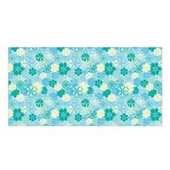 Blue Floral Flower Satin Shawl