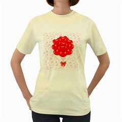 Abstract Background Balloon Women s Yellow T Shirt