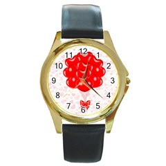 Abstract Background Balloon Round Gold Metal Watch