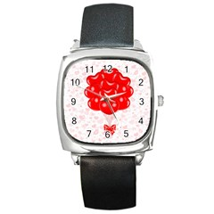 Abstract Background Balloon Square Metal Watch