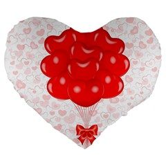 Abstract Background Balloon Large 19  Premium Flano Heart Shape Cushions