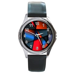 3d And Abstract Round Metal Watch